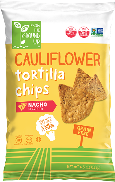 Ground Up Cauliflower Tortilla Chips  Nacho - 4.5 oz. - East Side Grocery