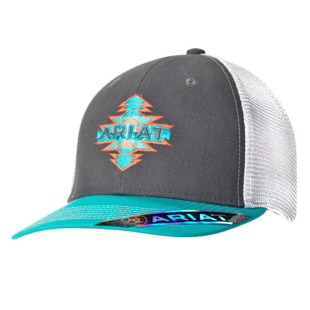 1511206 Ariat Ladies Aztec Logo Grey Ball Cap