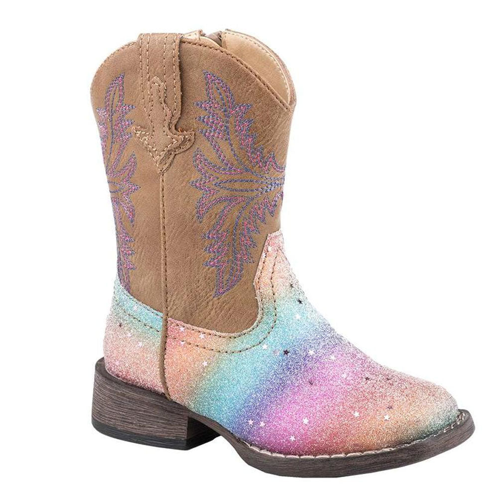 09-018-1903-2141 Roper Toddler Girl's Rainbow Glitter Boots