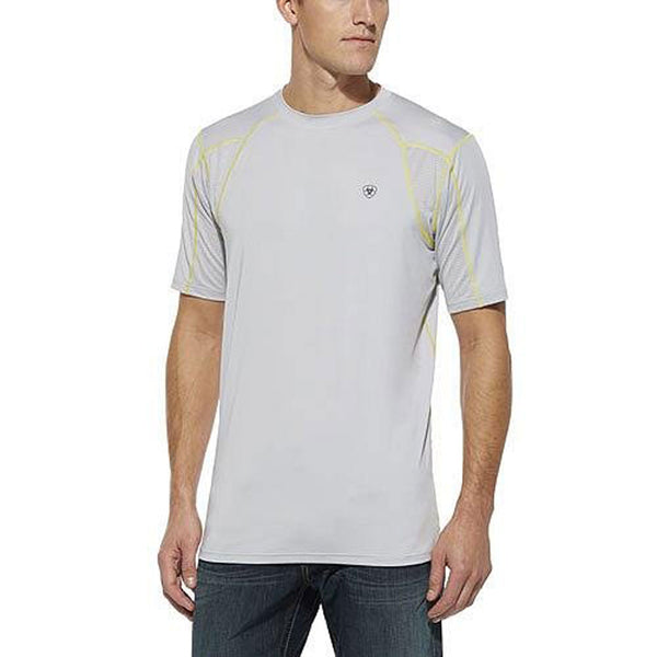 10014541 Ariat Men's Agile AC TEK Short Sleeve Tee - Pearl Grey Small