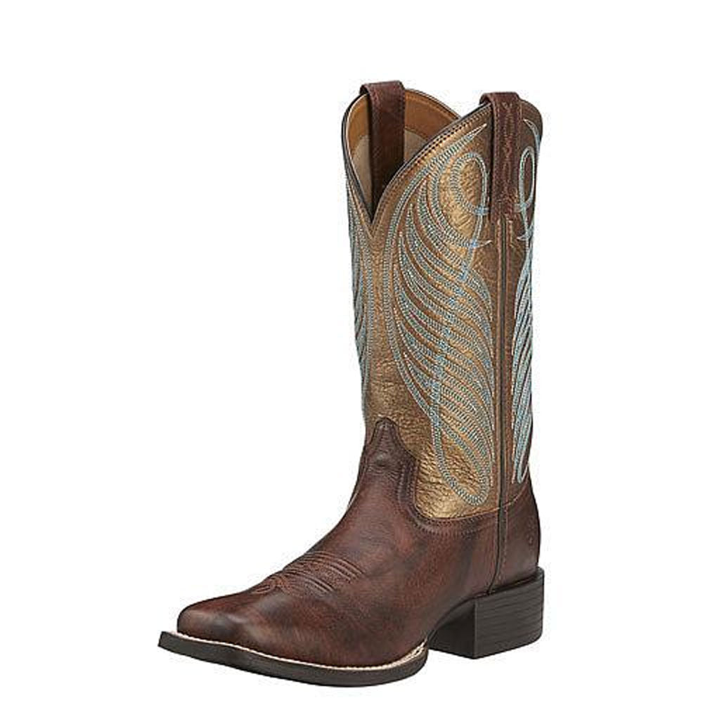 10016317 Ariat Women's Round Up Wide Square Toe Western Cowboy Boot Brown/Bronze