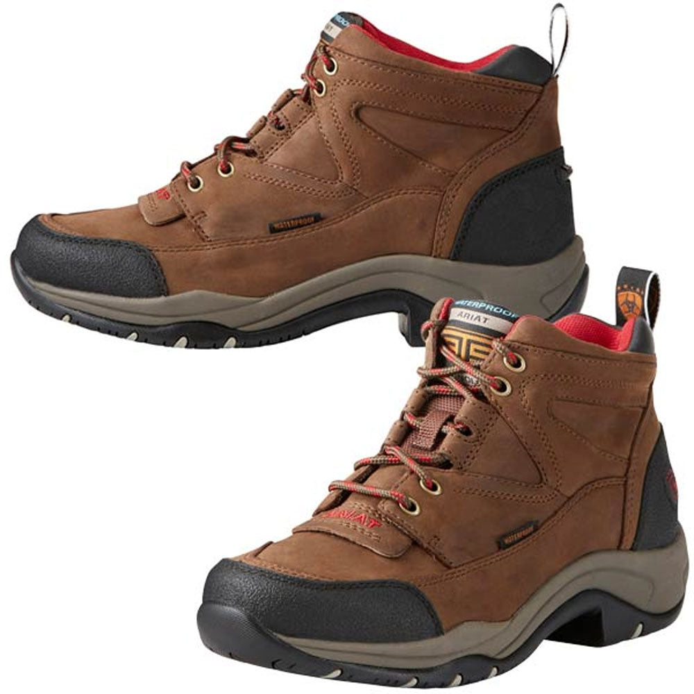 10021493 Ariat Women's Terrain H2O Waterproof Hiking Endurance Shoe - Distressed Brown