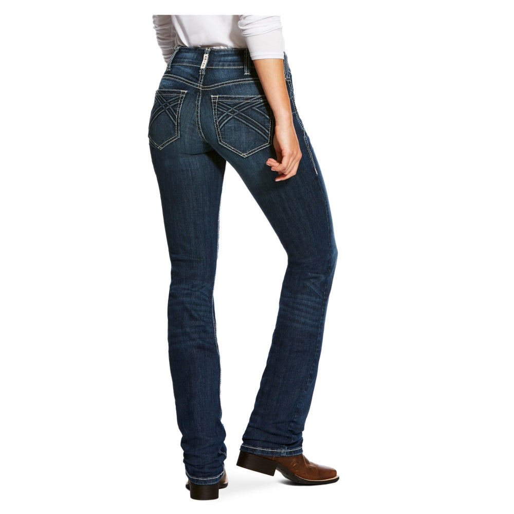 10026688 Ariat Women's REAL Mid Rise Straight Willow 3D Jean Dresden