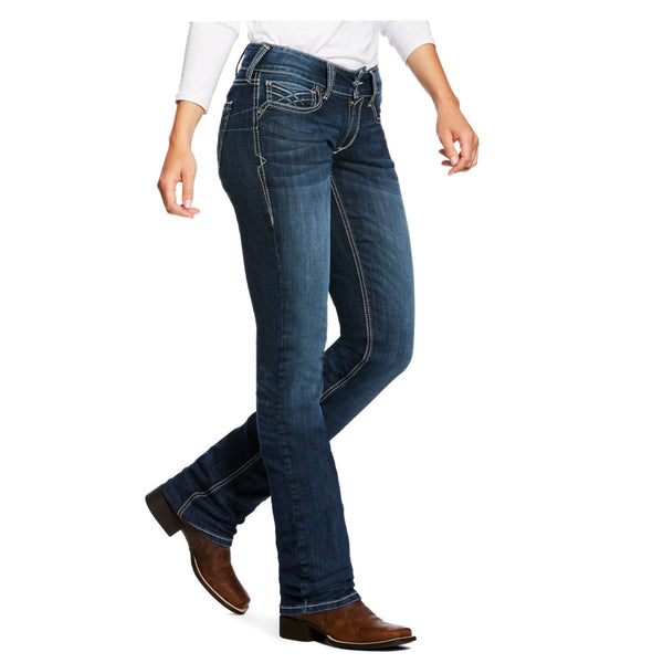 10026688 Ariat REAL Women's Mid Rise Straight Leg Willow 3D Dresden Jean