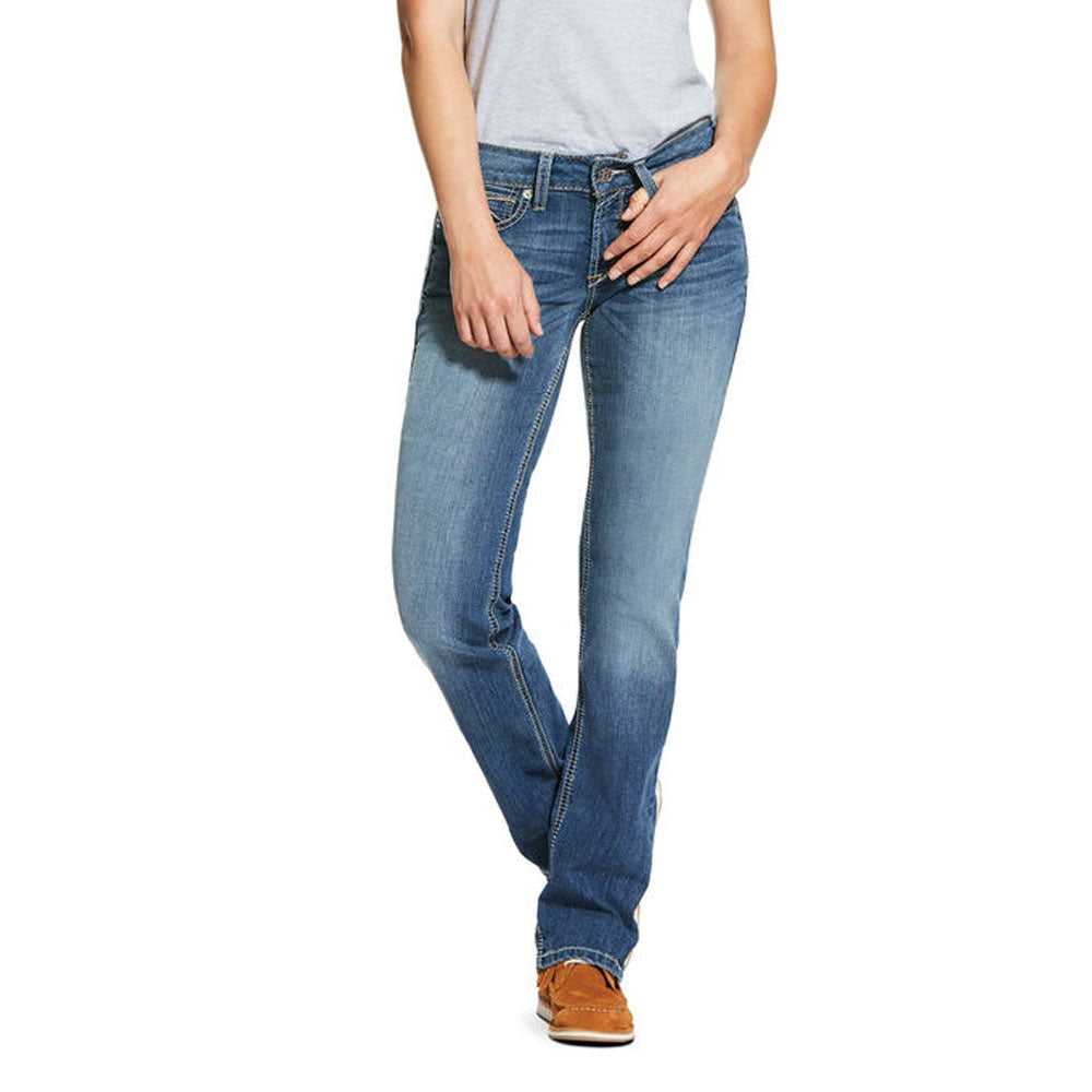 10030253 Ariat Women's R.E.A.L. Mid Rise Stretch Presley Stackable Straight Leg Jean Revere