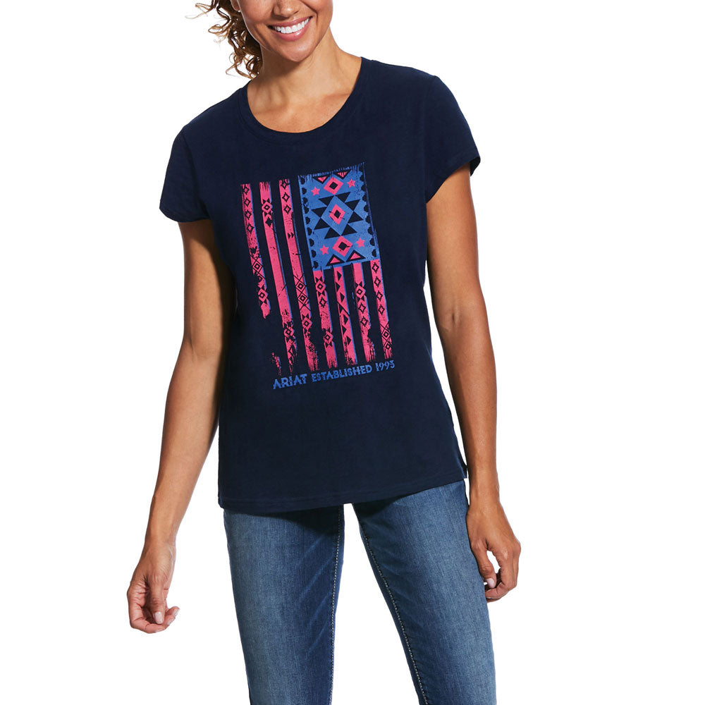 10031844 Ariat Women's REAL Spirit Tee Navy Flag Design