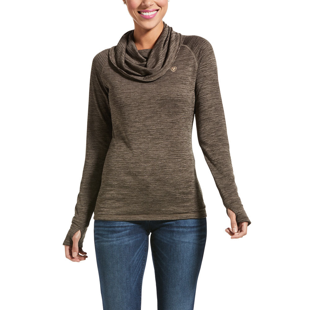 10032677 Ariat Women's Gridwork Cowl Neck Long Sleeve Top Banyon Bark