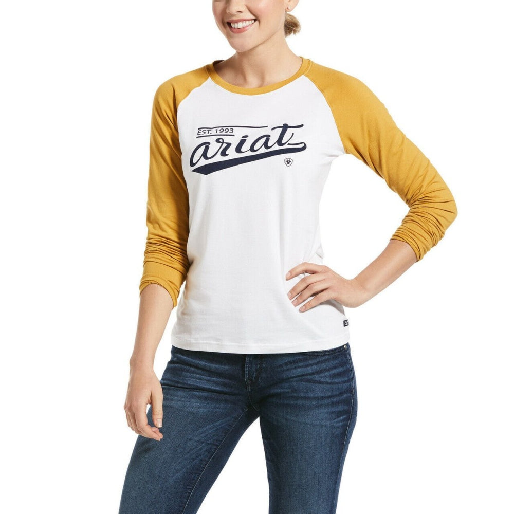 10032753 Ariat Ladies Varsity Logo Long Sleeve White T-Shirt