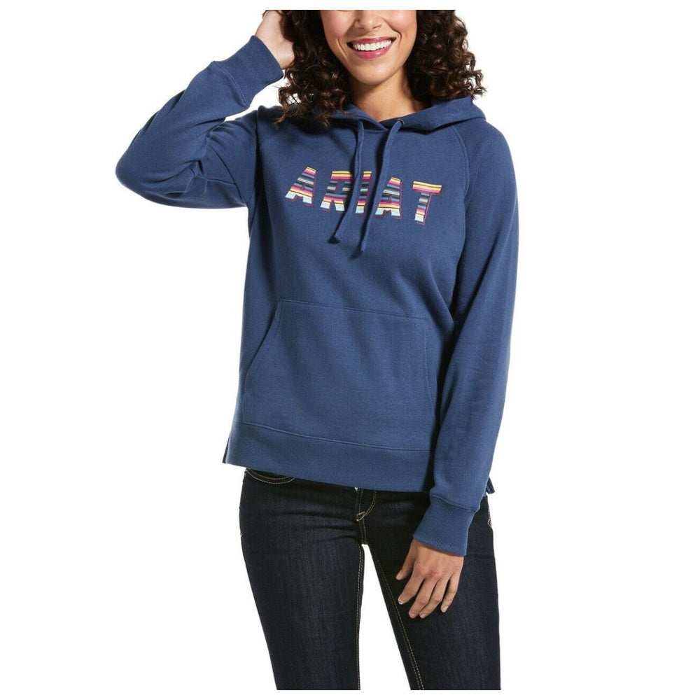 10032786 Ariat Ladies Serape Logo Marine Blue Hoodie Sweatshirt