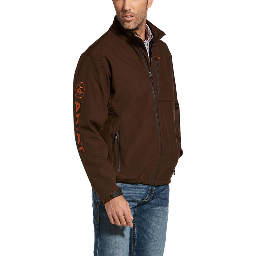 10032932 Ariat Men's Logo 2.0 Softshell Jacket - Dark Brown & Burnt Orange