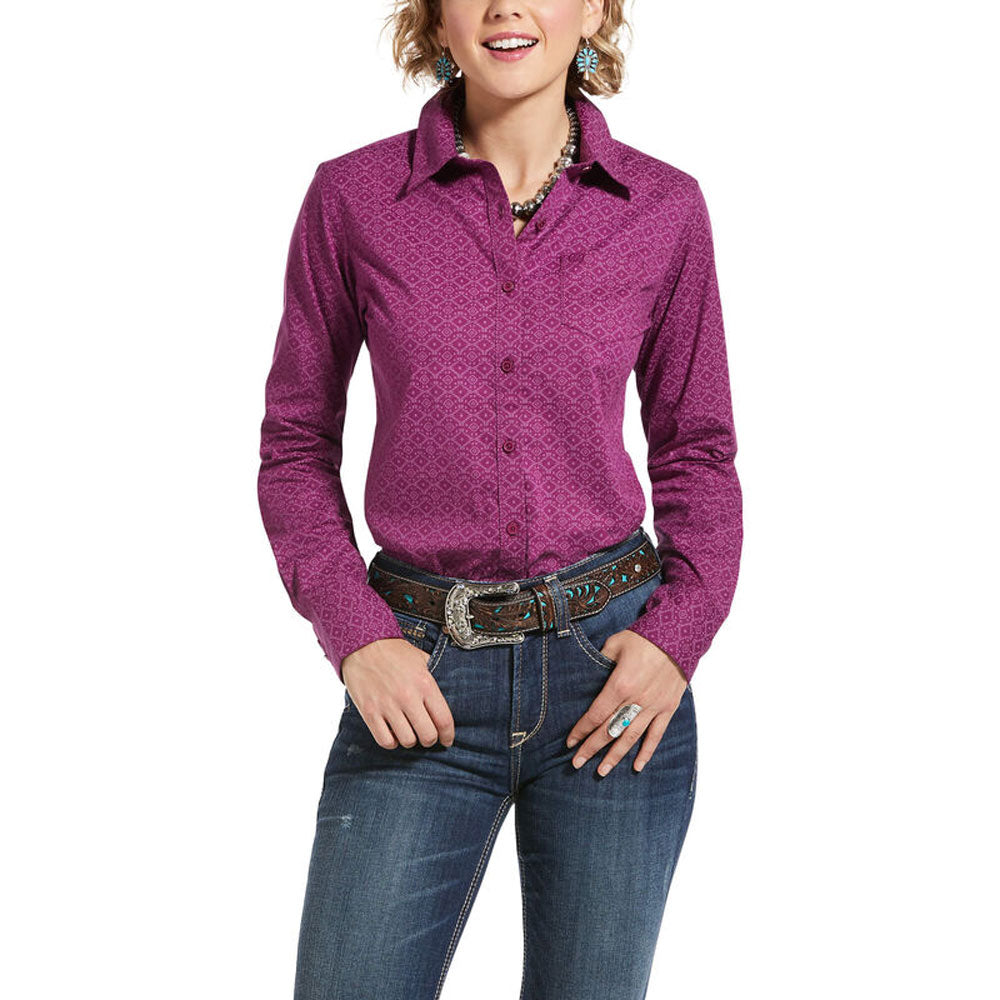 10032960 Ariat Women's Wrinkle Resist Kirby Stretch Shirt Imperial Violet