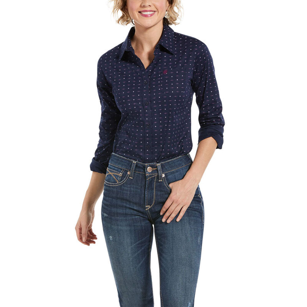 10032961 Ariat Women's Wrinkle Resist Kirby Stretch Long Sleeve Shirt Navy Eclipse