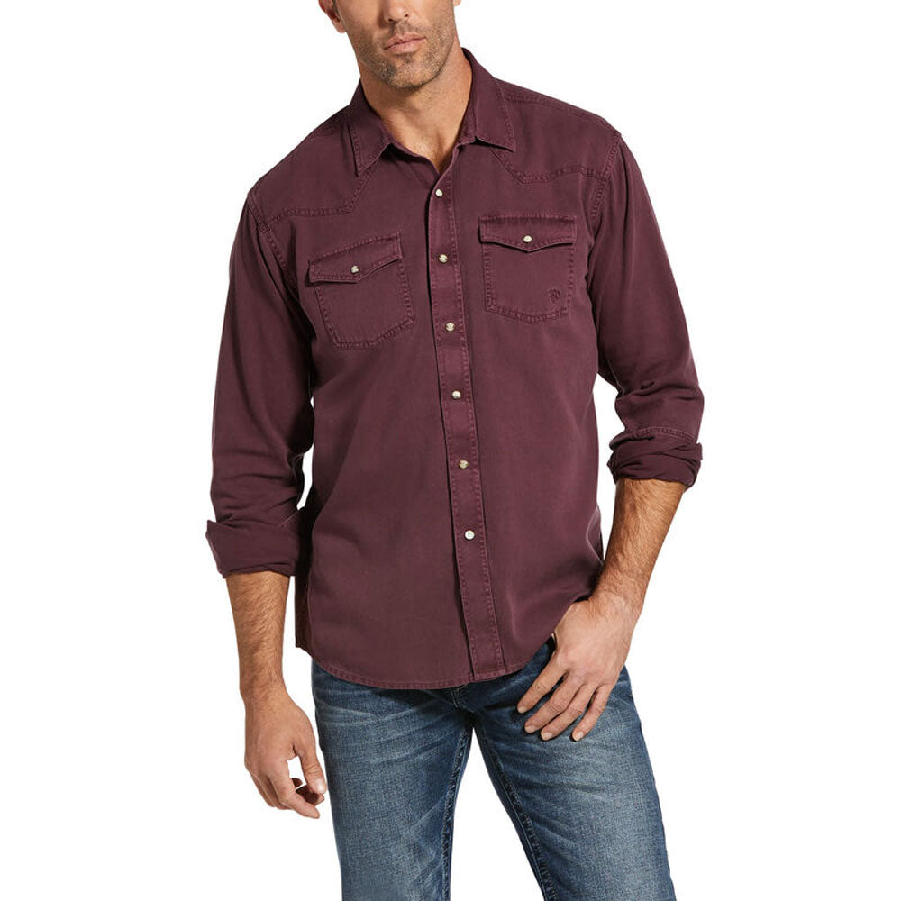 10032970 Ariat Men's Jurlington Retro Fit Snap Shirt Long Sleeve Wine
