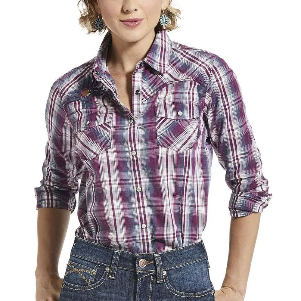 10032991 Ariat Women's REAL Incredible Long Sleeve Shirt Imperial Viol |  The Wire Horse