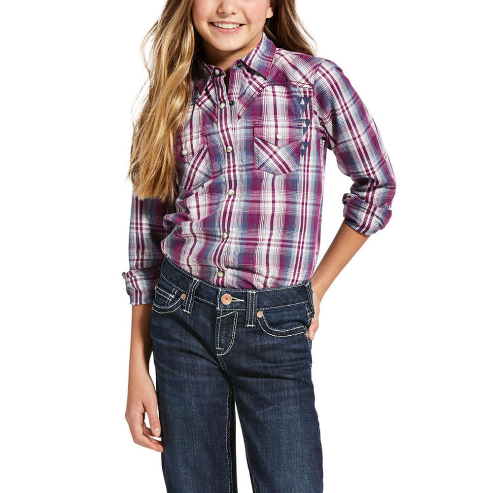 10033215 Ariat Girls' REAL Incredible Long Sleeve Shirt Imperial Violet Plaid