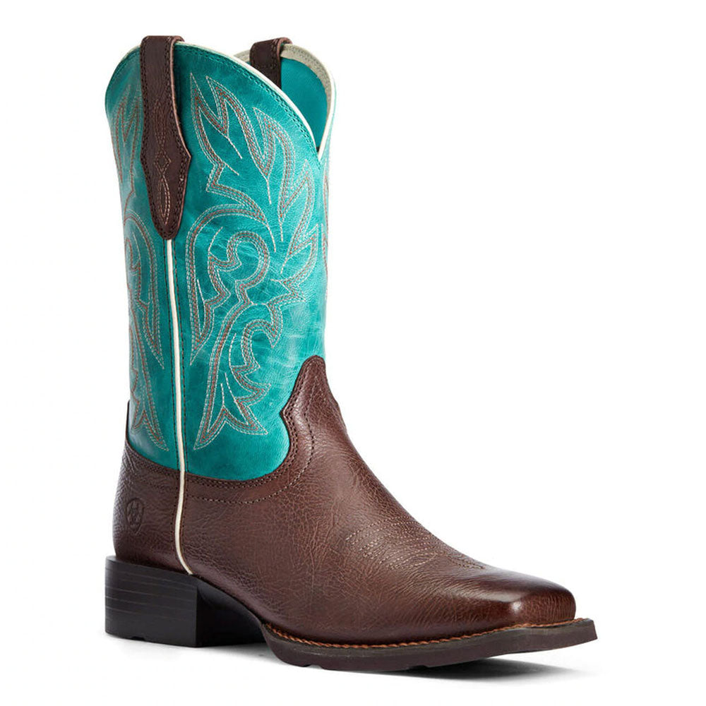 10033870 Ariat Ladies Turquoise & Dark Cottage Cattle Drive Western Cowboy Boots