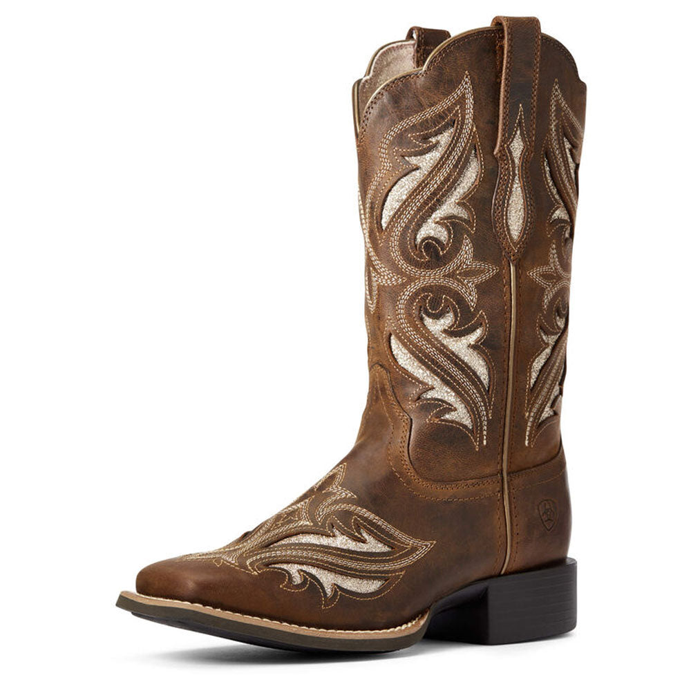 10034056 Ariat Women's Round Up Bliss Western Boot Sassy Brown Glitter