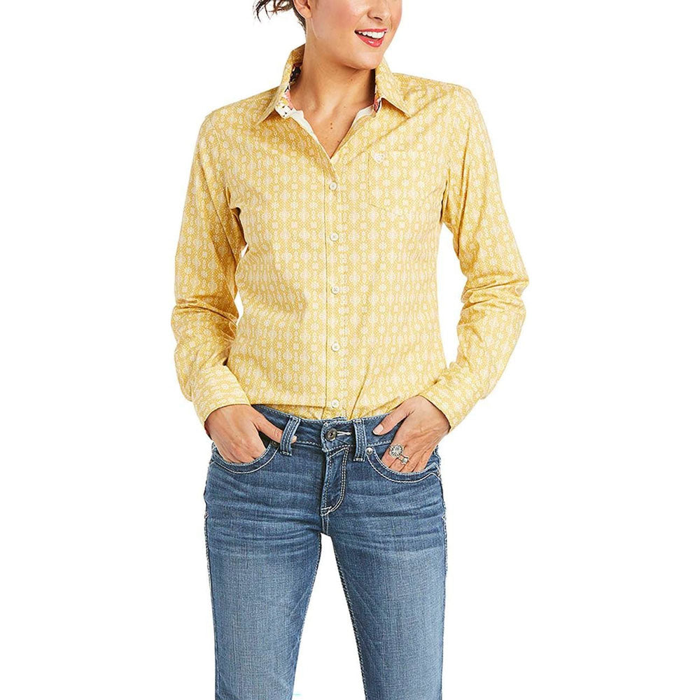 10035004 Ariat Women's Kirby Long Sleeve Button Front Western Shirt Yellow Print