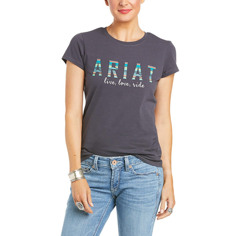 10035033 Ariat REAL Oasis Women's Logo T-Shirt Grey Short Sleeve