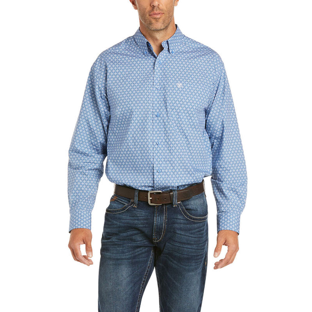 10035085 Ariat Men's Farle Classic Fit Western Shirt Blue Long Sleeve
