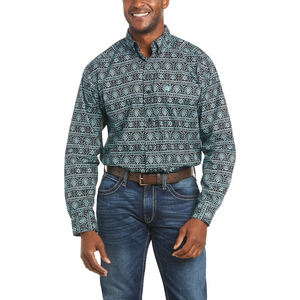 10035234 Ariat Men's Tabor Classic Long Sleeve Western Shirt Aqua Print