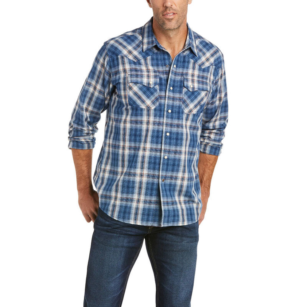 10035446 Ariat Men's Abilene Retro Fit Long Sleeve Western Snap Shirt Blue Plaid