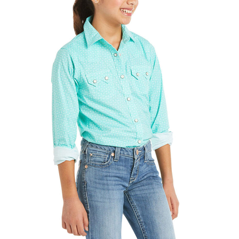 10035540 Ariat Girls' R.E.A.L. Cypress Long Sleeve Western Snap Shirt