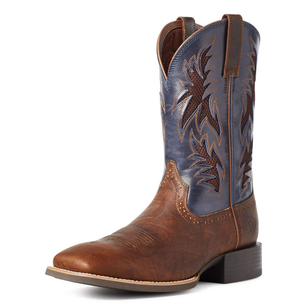 10035928 Ariat Men's Sport Cool VentTEK Western Boot Bar Top Brown