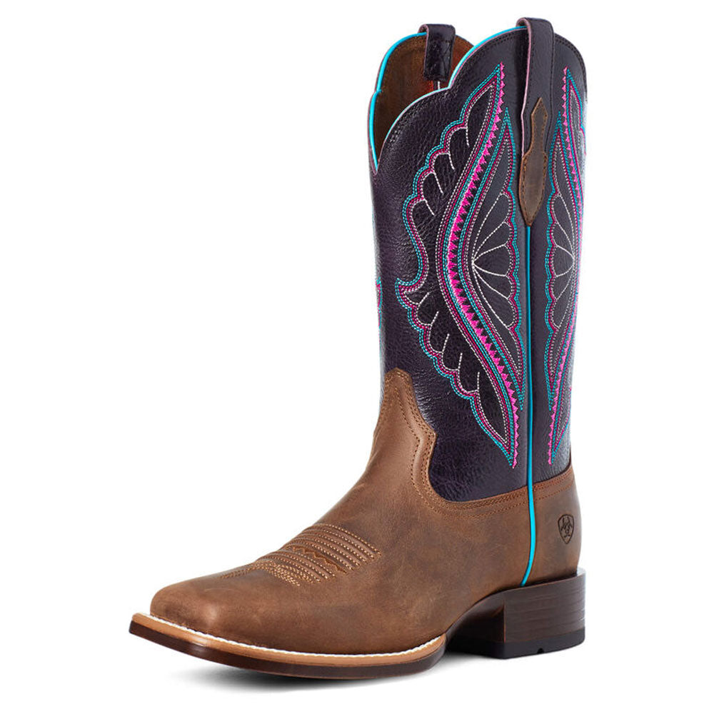 10035936 Ariat Women's PrimeTime Western Boot Tobacco/Shadow Purple