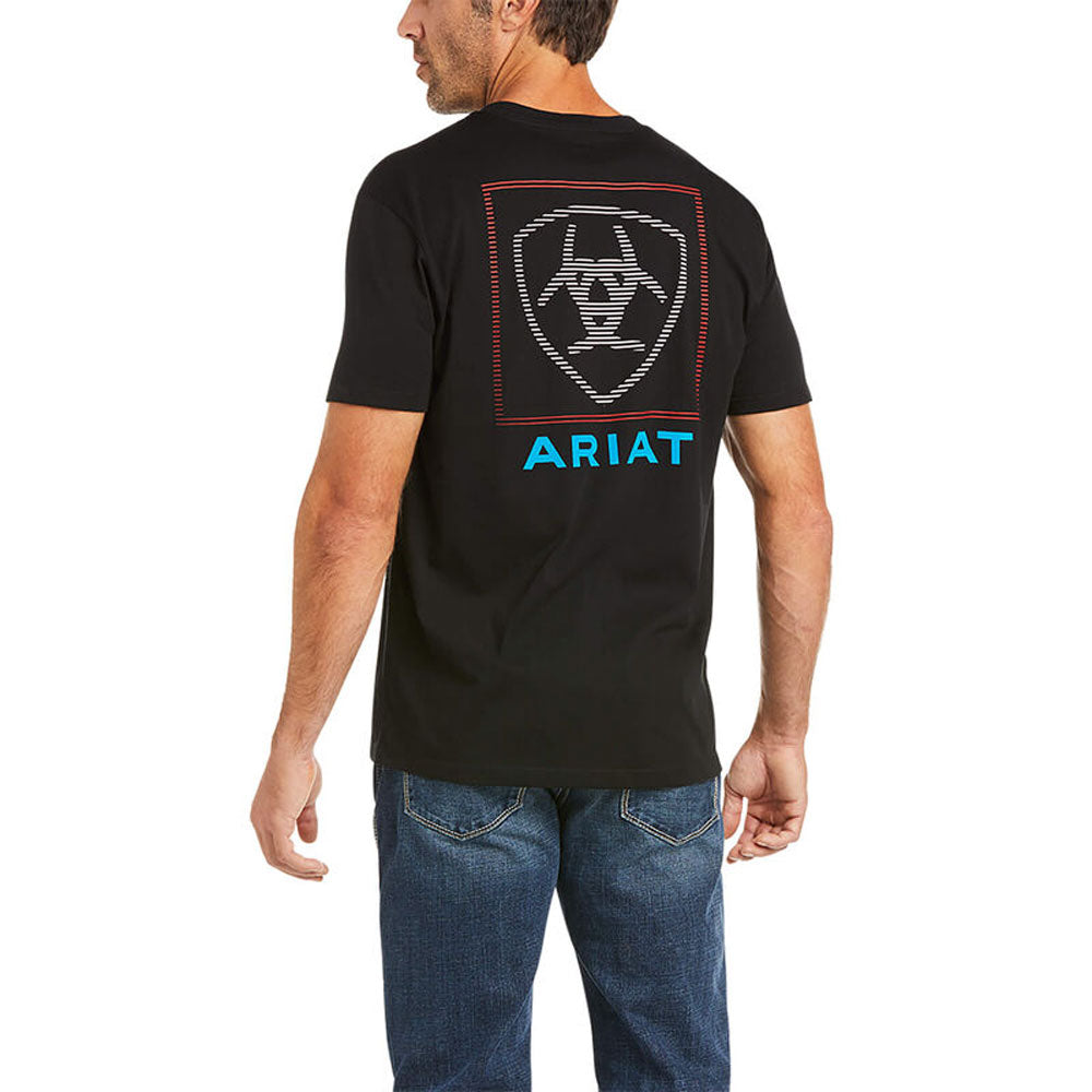10036563 Ariat Men's Ariat Linear T-Shirt Black Short Sleeve