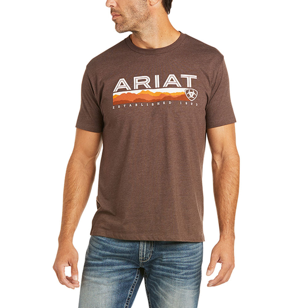 10036566 Ariat Men's Ariat Hills T-Shirt Heather Brown Short Sleeve