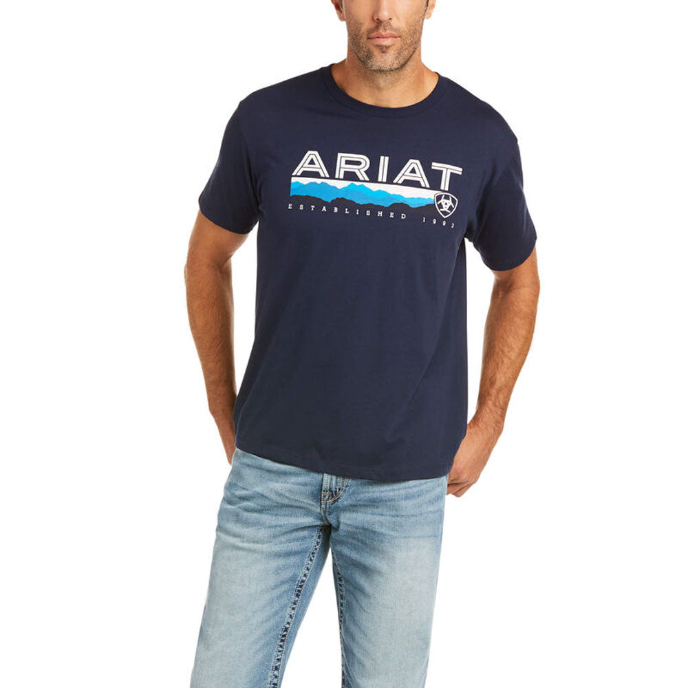 10036567 Ariat Men's Ariat Hills T-Shirt Navy Short Sleeve