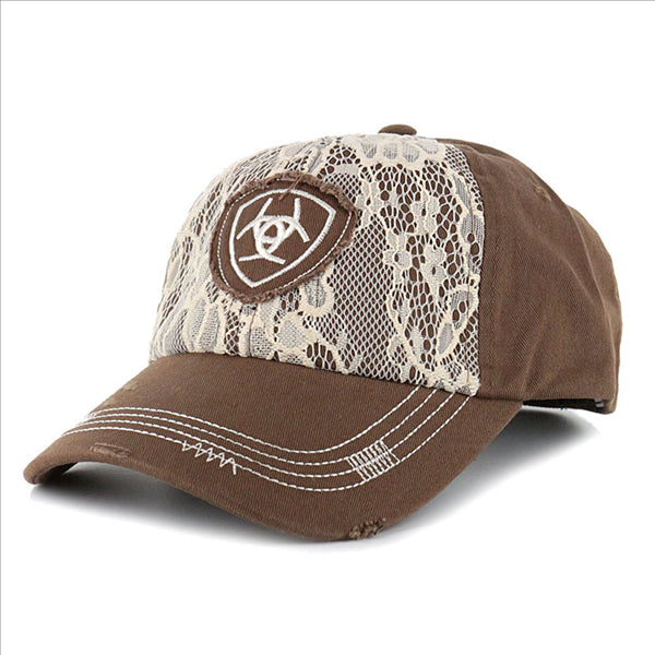 1514802 Ariat Women's Lace Front Logo Ball Cap Light Brown