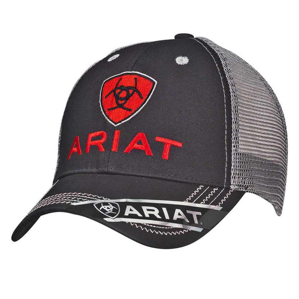 1515866 Ariat Men's Black & Grey Logo Ball Cap Adjustable