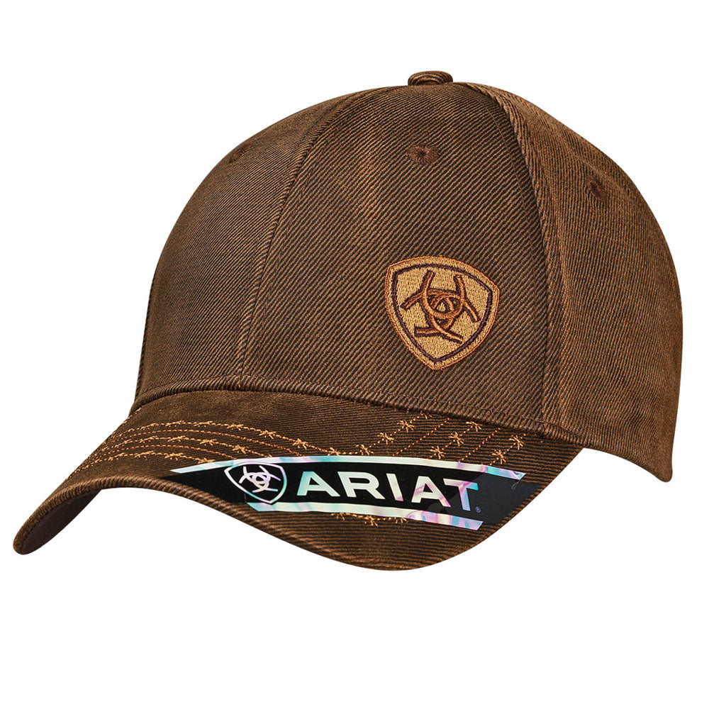 1518002 Ariat Men's Brown Logo Oilskin Ball Cap