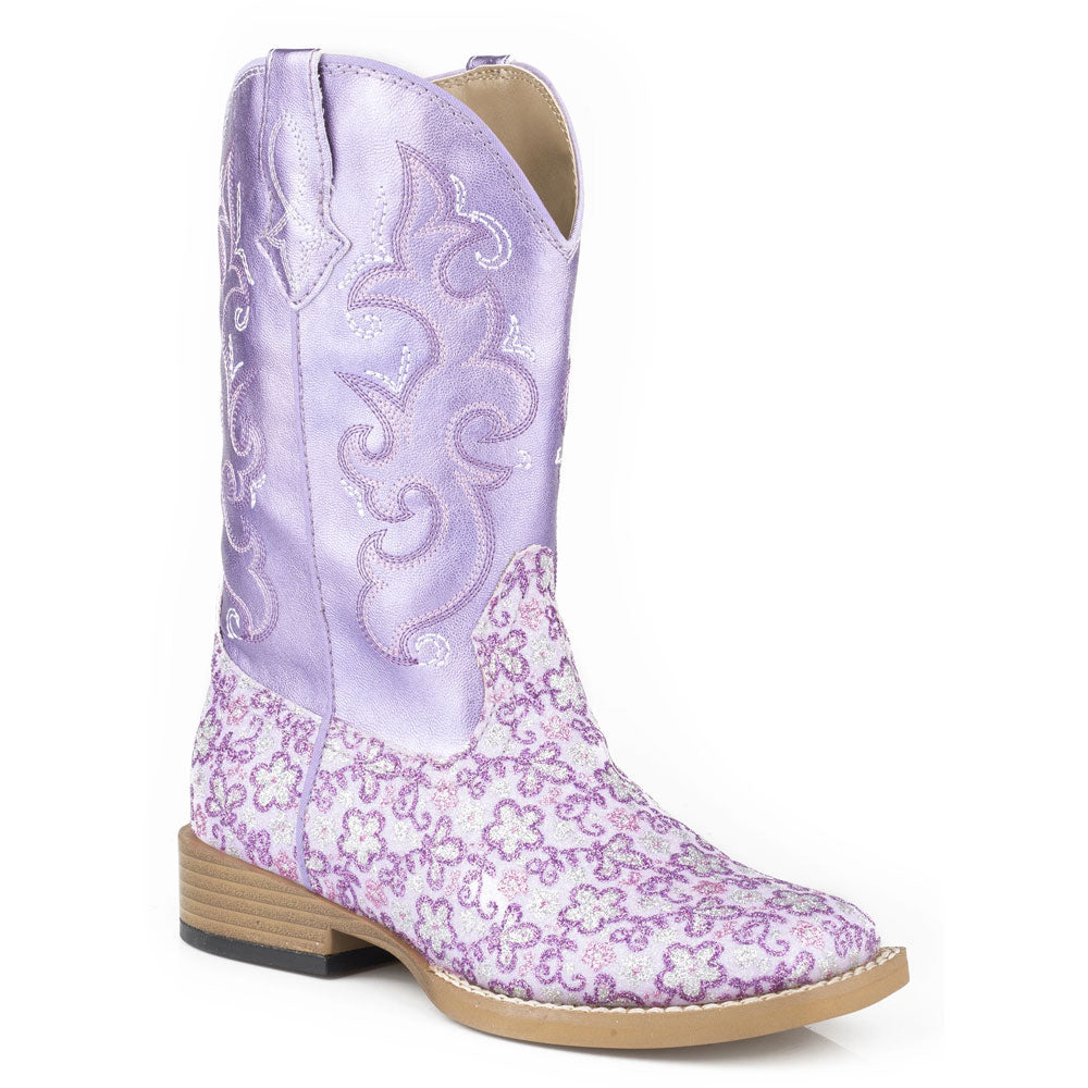 09-018-1901-1520 Roper Little Girl's Purple Floral Glitter Metallic Vamp Western Cowgirl Boot
