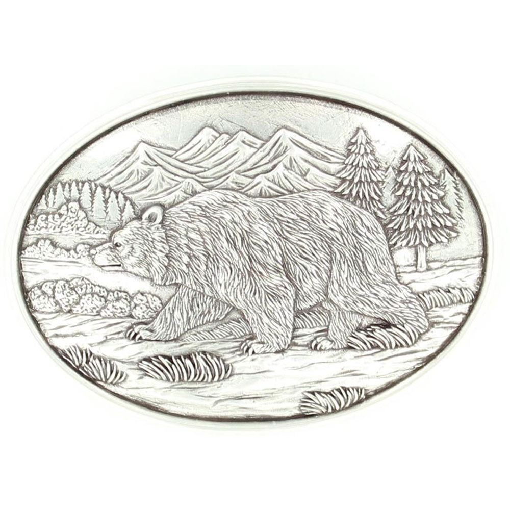 37045 Nocona Men's Grizzly Bear Oval Belt Buckle
