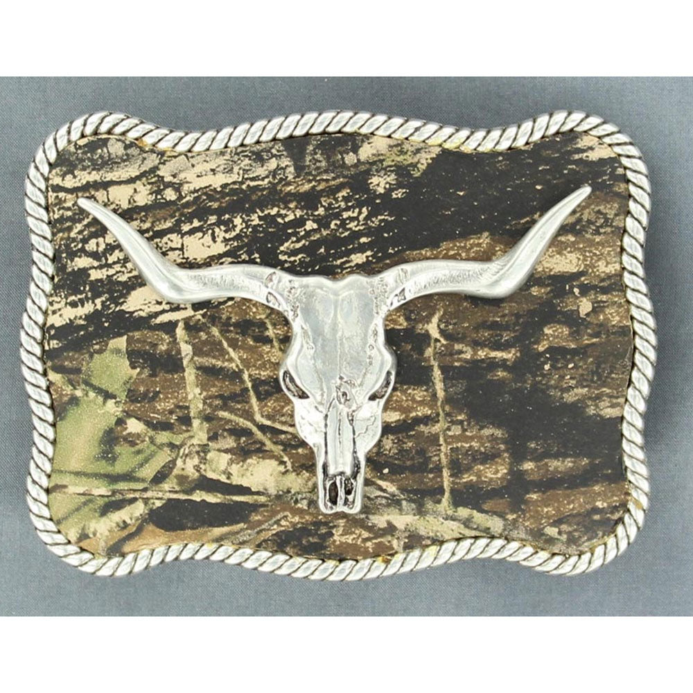 37964 Nocona Men's Mossy Oak Skull Belt Buckle Camo