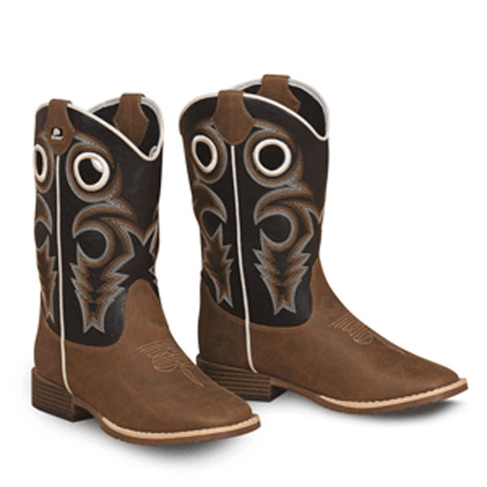 Twister Double Barrel Trace Toddler and Kids Western Cowboy Boot Brown