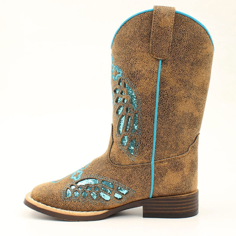 Twister Blazin Roxx Childrens' Gracie  Turquoise Glitter Western Square Toe Boot