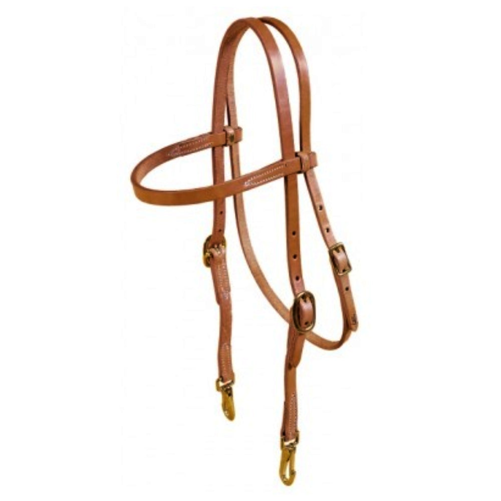 465 Tory Leather Brow Band Training Headstall With Bit Snaps