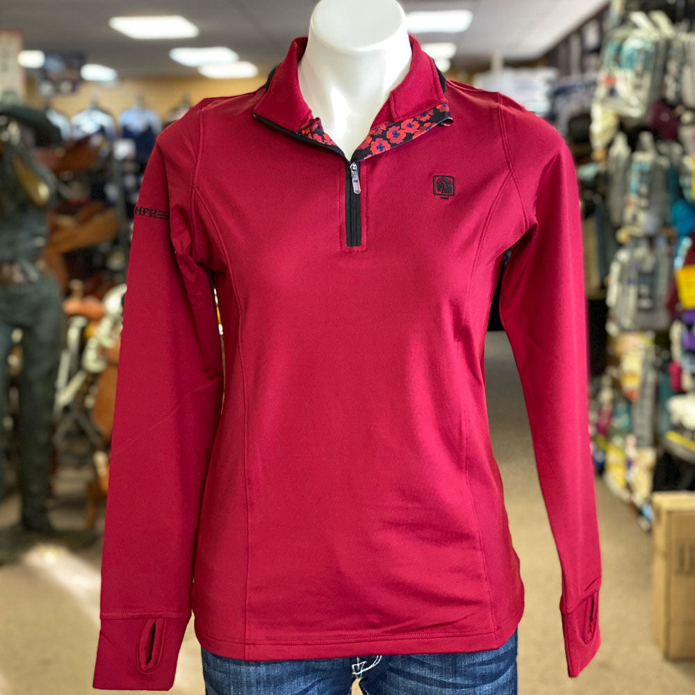 470086 ROMFH Women's Aachen Mock Zip Top Long Sleeve Red