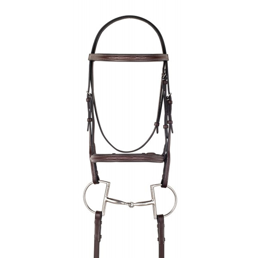478004 Camelot Gold™ Fancy Stitched Raised Padded Bridle with Laced Reins