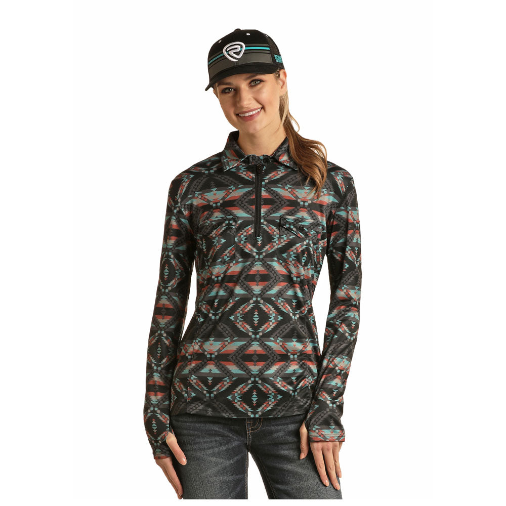 48Z6514 Rock & Roll Cowgirl Juniors 1/4 Zip Long Sleeve Aztec Print Top Long Sleeve