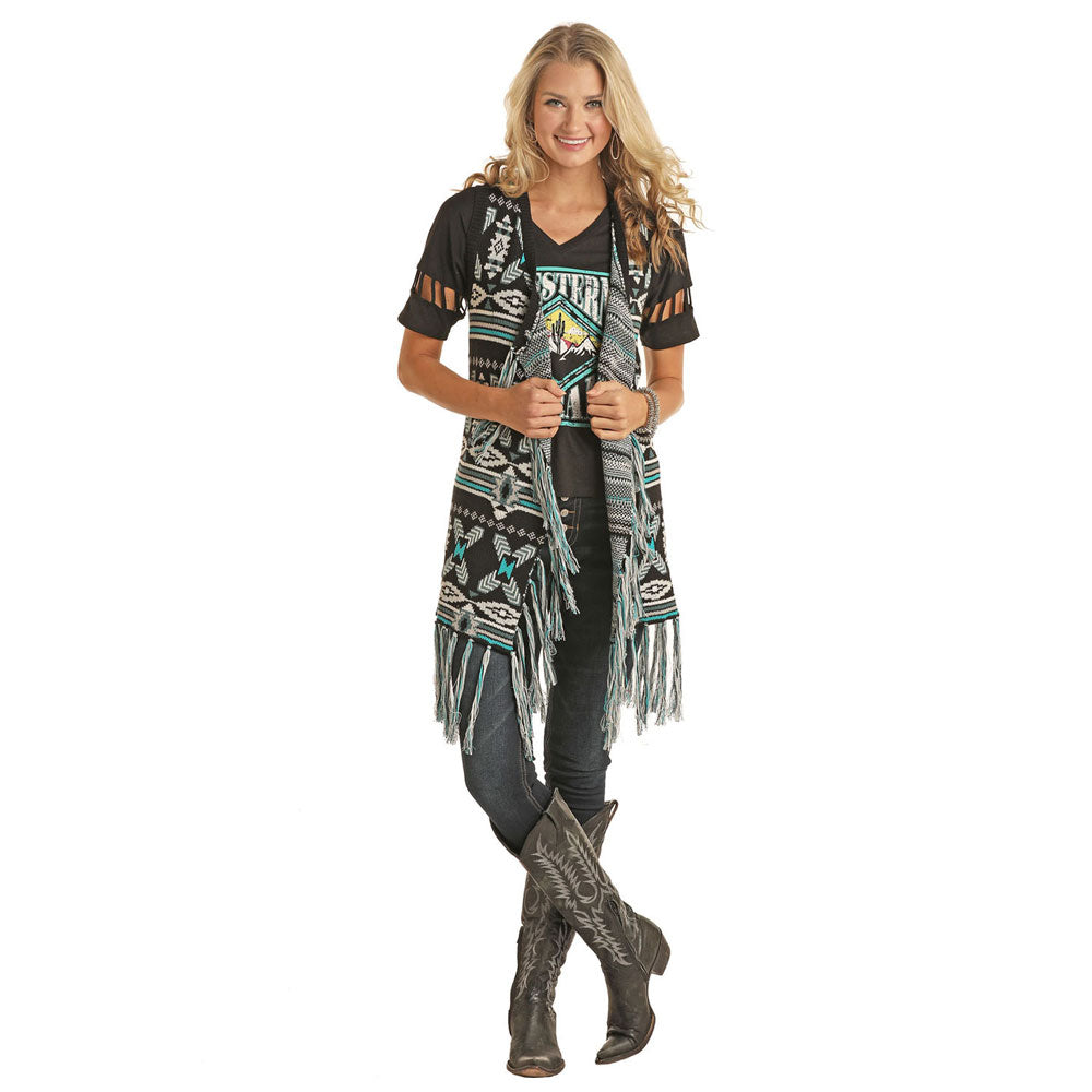 58B6716 Powder River Ladies Long Fringed Aztec Pattern Sweater Vest