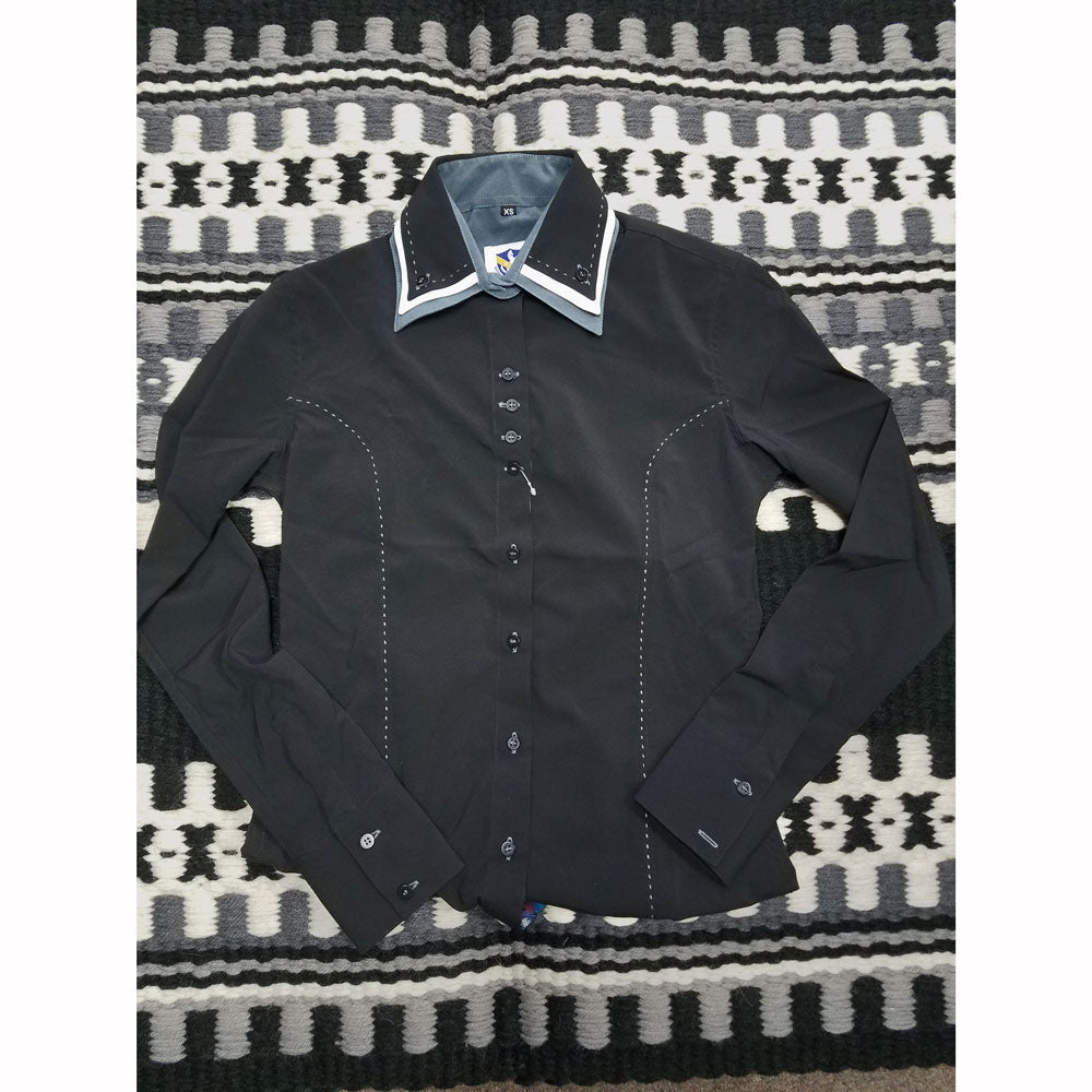 68249 Women's Triple Collar Western Show Shirt w/Buckstitch Royal Highness Black, White & Grey