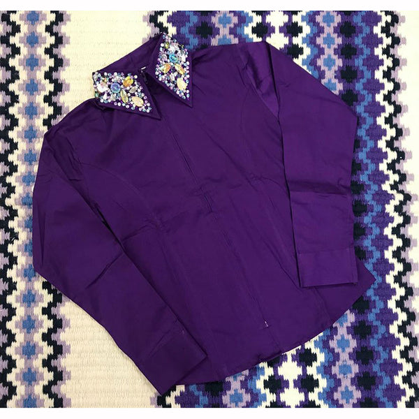 68282 Royal Highness  Ladies Zip Front Show Shirt with Studded Collar