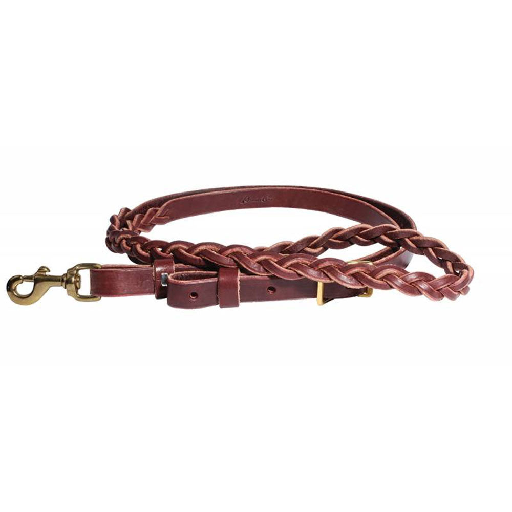 7390BUR Professionals Choice 3-Plait Latigo Roping Rein
