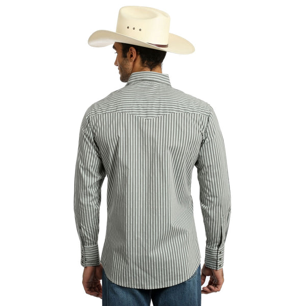 75786GY Wrangler Men's Silver Edition Grey & Black Stripe Western Snap Shirt