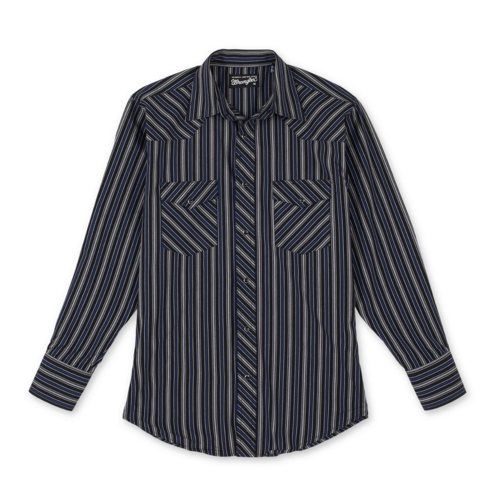 75799BK Wrangler Silver Edition Men's Black with Blue, Navy and Silver Stripes Long Sleeve Shirt